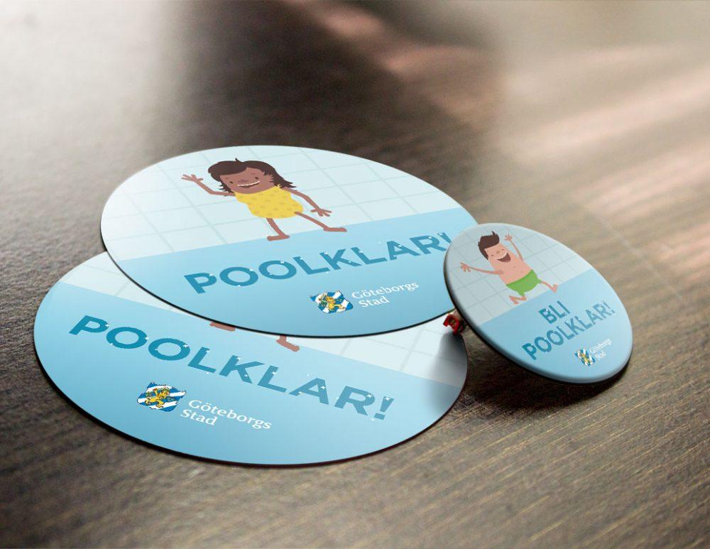 Göteborgs Stad Poolklar pin och stickers