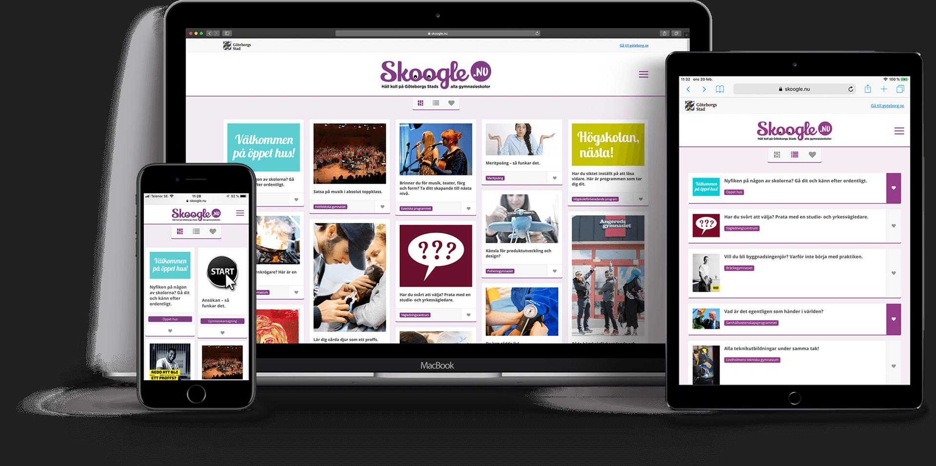 Skoogle webbplats